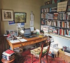 work for writers Writers' rooms: Sebastian Barry Sebastian Barry, Writers Desk, Writing Studio, Room Of One's Own, Workspace Inspiration, Desk Inspo, Writing Inspiration, Home Libraries, Interior Exterior