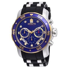 4e5206ed3c26 Invicta Men s Chronograph Watch - Pro Diver Steel   Silicone Strap Blue  Dial
