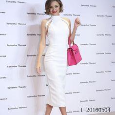 Miranda Kerr White Celebrity Dresses Red Carpet 2016 New Arrival Halter High-neck Backless Party Dress Criss-Cross Tea-length