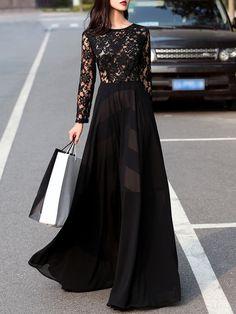 Shop Maxi Dresses - Black Lace 3/4 Sleeve Crew Neck Cutout Maxi Dress online. Discover unique designers fashion at StyleWe.com.