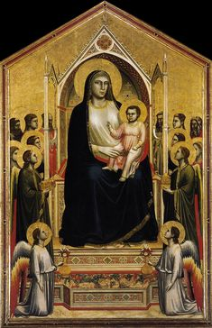 """Giotto di Bondone  VIRGIN AND CHILD ENTHRONED  Most likely painted for the high altar of the church of the Ognissanti ( All Saints), Florence. 1305- 1310. Tempera and gold on wood panel, 10'8""""X6'8 1/4. Galleria degli Uffizi, Florence."""