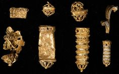 The tiny fragments of beautifully worked Tudor gold were harvested from a muddy…