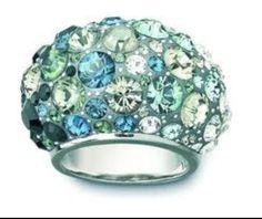 Turquoise and Topaz Swavorski ring