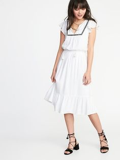 $34 Old Navy - Embroidered Waist-Defined Dress for Women