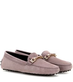 Gommini Clamp Strass grey purple embellished suede loafers
