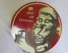 Tin Sign Santa Clause Advent Calender Days Left Till Christmas Old World Saint Nick ReVintageLannie.Etsy.com