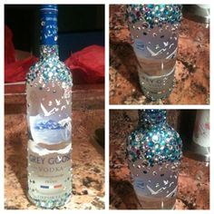 bedazzled glass bottle