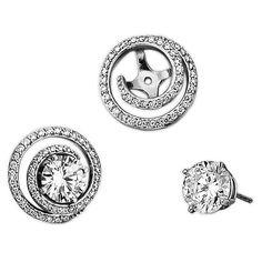 FB Jewels Solid Sterling Silver Black Diamond Earring Jacket