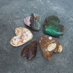 5 heart rocks handmade gem stone hearts by NaturesArtMelbourne