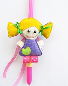 Handmade Easter candle with fabric doll