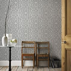 Heart and Tulip Wallpaper in Ash by Marcel Wanders for Graham & Brown