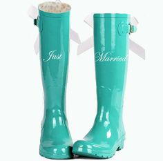 RESERVED for Kitty size 8 Tiffany Blue Rain Boots with White Bow