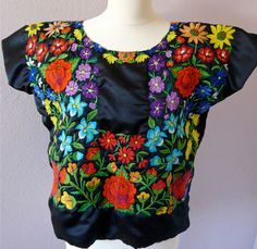 Mexican embroidered FLORAL Tehuana huipil NAVY satin blouse  - Oaxaca - Frida Style - Med on Etsy, $275.00
