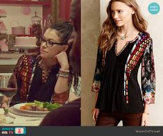 Cosima's mixed pattern top on Orphan Black. Outfit Details: http://wornontv.net/49955/ #OrphanBlack