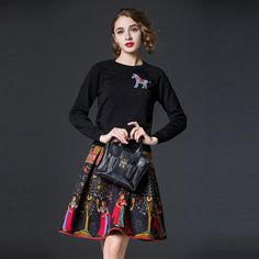 Top Quality New Winter Set Clothes 2015 Runway Designer Fashion Women Horse Beads Sweater+Vintage Print Sleeveless Dress(1Set) Size: S/2/36:Bust 86cmWaist 84cmSleeve 49cmLength 93cm M/4/38:Bust 90cmWaist 88cmSleeve 50cmLength 94cm L/6/40:Bust 94cm Waist 92cmSleeve 51cmLength 95cm 1inch=2.54cm Description More Quantity More Discount ! Combine Shipping and Drop Shipping are Supported!!!! Aglory Fashion About Us:We are Aglory Fashion!!! ...