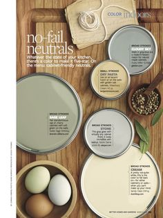 Earthy Neutral Color Scheme for a kitchen - what paints go good with different types of woods and stains.