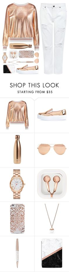 """ROSE GOLD:Contest Entry"" by dianakhuzatyan ❤ liked on Polyvore featuring Raoul, River Island, S'well, Linda Farrow, Kate Spade, claire's, Nanette Lepore, FOSSIL, Swarovski and Casetify"
