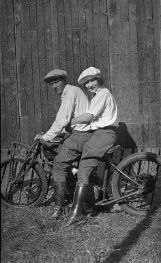 """Lillian LaFrance and friend pose on one of their Indian motorcycles inside the """"Wall of Death""""... by jbpics, via Flickr"""