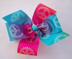 Peace Sign Boutique Hair Bow For Girls by JustinesBoutiqueBows,