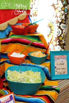 "Décor: Mexican Blankets  {via GreyGrey Designs} ""Greyson's Skippyjon Jones Birthday Four-esta Party"""