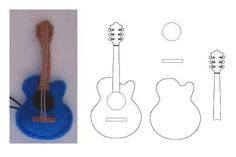 guitar made from felt, or cut each piece from stock card for scrapbooking or cards Guitar Patterns, Felt Patterns, Stuffed Toys Patterns, Felt Diy, Felt Crafts, Diy And Crafts, Paper Crafts, Paper Toys, Craft Projects