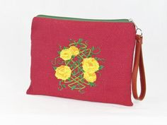 Zipper pouch Celtic knot Yellow Roses embroidery on commercial grade upholstery fabric and lined with BBE logo print kona cotton.This super cute zipper pouch ha