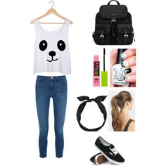 School #9 by amberpend on Polyvore featuring polyvore, fashion, style, Frame Denim, Vans, Prada, yunotme, France Luxe and Maybelline