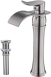 Bwe Waterfall Spout Single Handle Commercial Bathroom Sink Vessel