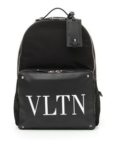 f376d33b42dbea VALENTINO MEN'S VLTN LOGO LEATHER BACKPACK. #valentino #bags #canvas  #leather #