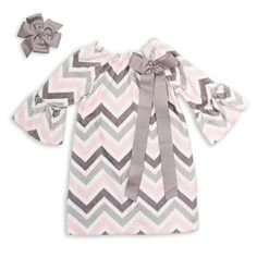 Light Pink Gray Chevron Minky Charlotte Dress for Shiloh