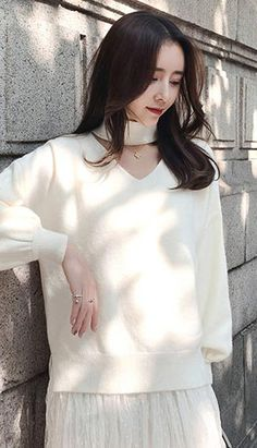 Fashiontroy Street Style long sleeves blue ivory overiszed cutout cotton blend sweater autumn winter Asian Street Style, Fall Winter, Autumn, Blue Ivory, Tunic Tops, Fashion Outfits, Long Sleeve, Sleeves, Sweaters