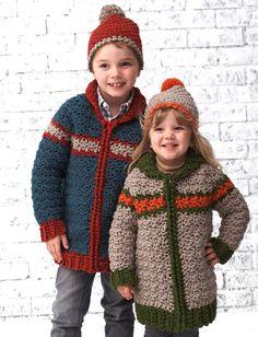 free crochet  pattern from   Yarnspirations.com - Bernat Kiddie Car Coat - Patterns    Yarnspirations