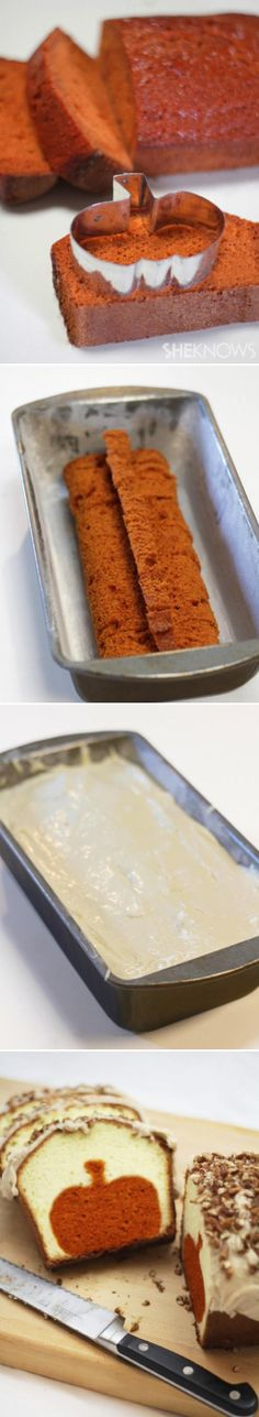 Peekaboo pumpkin pound cake ~ Use a Christmas Tree cookie cutter or star cutter for Christmas ... Or heart cookie cutter with red velvet or strawberry cake for Valentine's Day ... Or a shamrock for St. Patrick's Day ... Or stars with alternating red and blue cake for July 4/Veterans/Memorial Days ... Endless possibilities!!