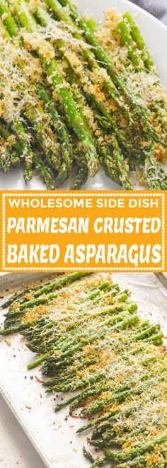 These Parmesan Crusted Baked Asparagus brings a nice flavorful twist to an already yummy vegetable. They're tender, cheesy, garlicky wholesome side dish Parmesan Crusted Asparagus, Asparagus Recipes Oven, Ways To Cook Asparagus, Best Asparagus Recipe, Parmesan Recipes, Vegetable Recipes, Vegetarian Recipes, Cooking Recipes, Healthy Recipes