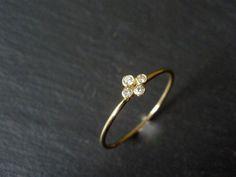 Clover Diamond Ring 18k gold Tiny Ring Right by AlexisRomeoJewelry, $375.00