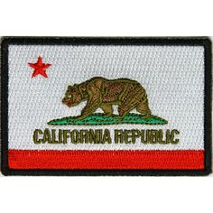 inchIron on or Sew on PatchPlastic Backing & Die Cut BordersEmbroidered Patch California Republic Flag, Flag Patches, Green And Brown, Flags, Sewing, Dressmaking, Couture, Sew, National Flag