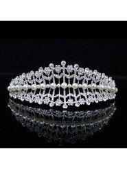 Alloy with Pearls and Rhinestones Flowers Wedding Tiara