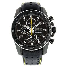 Seiko Sportura - Black and yellow! Cheap Watches, Casual Watches, Cool Watches, Watches For Men, Nike Watch, Adidas Watch, Seiko Sportura, Fitness Watches For Women, Mens Sport Watches