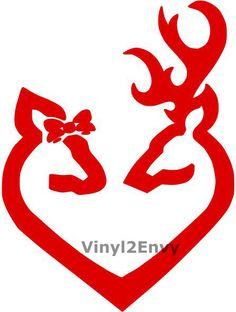 Deer with Bow and Buck Love Heart Car Window Decal by Vinyl2Envy, $4.35