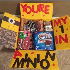 Military Care Package, one in a minion. You should do this for Tyler for Valentine's Day! Missionary Care Packages, Deployment Care Packages, Military Care Packages, Soldier Care Packages, Missionary Gifts, Deployment Gifts, Military Deployment, Diy Birthday, Birthday Gifts