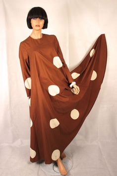 VUOKKO 1970 BROWN  COTTON  POLKA DOT  FESTIVAL HIPPY MAXI VINTAGE DRESS LARGE #VUOKKO #HIPPY
