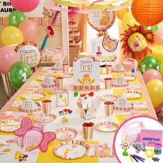 Sweet Safari Pink 1st Birthday Party Packs, 74179