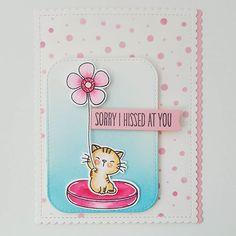 MFT Cool Cat; pink and aqua; sorry; big flower; kitten; polka dots; DIB; MFT fave