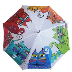 Hand Painted Umbrella • Cats • Animal Illustrations • Rain Umbrella • Wooden Handle • White • Bright Colors • Personalized • Made to Order