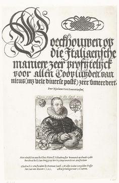 Hendrick Goltzius | Portret van Nicolaus Petri van Deventer, Hendrick Goltzius, 1595 | Portret van Nicolaus Petri van Deventer, rekenmeester en astronoom in Amsterdam. Portret ten halven lijve, achter een tafel waarop mathematische en astronomische instrumenten: globe, hemelsfeer, astrolabium, passer. Links van zijn hoofd een geometrisch figuur, rechts een hemelsfeer. Man links op de achtergrond richt een meetinstrument op de obelisk rechts op de achtergrond. De prent is hier gebruikt voor…