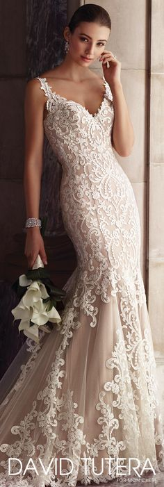 David Tutera for Mon Cheri Spring 2017 Collection - Style No. 117268 Amber - sleeveless lace wedding dress with illusion back