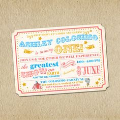 Circus Birthday Invitation - Vintage Inspired Carnival / Retro Circus - Custom, Digital, Printable - Girl or Boy - Blue and Gold via Etsy