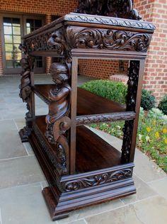 Antique French Oak Gothic Renaissance Revival Server Buffet Sideboard 3-Tiers | eBay