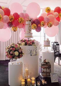 Bridal Shower Balloons, Bridal Shower Decorations, Balloon Decorations, Birthday Decorations, Balloon Garland, Birthday Ideas, Balloon Ideas, Smash Cake First Birthday, Cake Table Birthday
