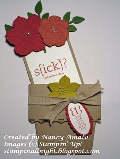 Stampin All Night  #Flower Pot card  #Secret Garden Shop my online store nancyamato.stampinup.net